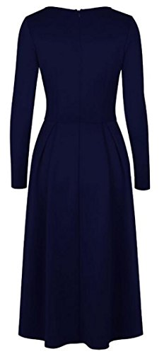 Sleeve Pockets Cromoncent Dress Long Pleated Blue Swing Crewneck Womens Casual qOOtY