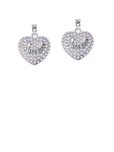 Sisters Rock on AB Crystal Heart Clear Crystal Post Earrings (C5202)