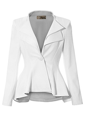 Women Double Notch Lapel Office Blazer JK43864 1073T White Large