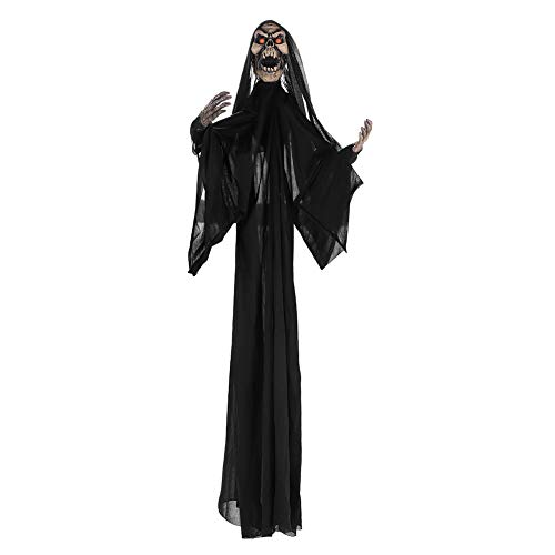 Halloween Decorations Outdoor Scary Hanging Ghost Skull Skeleton Red Eyes Decorative Lights Voice Controlled Jerky Movement Novelty Front Door yard Decor Party Bar Props Black White 39inches Grim -