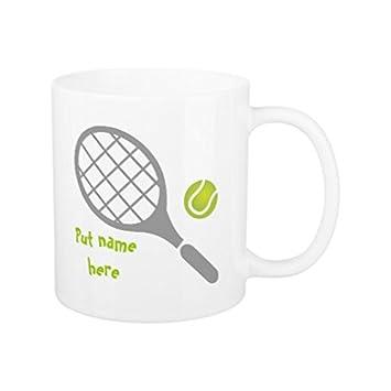 Regalos para mujeres novedad Raqueta de tenis y bola personalizada taza de café regalo de cumpleaños para hombres taza de cerámica 11 oz: Amazon.es: Hogar