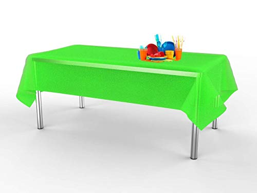 Lily + Oliver Lime Green (6 Pack) Premium Disposable Plastic Tablecloth 54 inch. x 108 Inch. Rectangular Table Cover ()