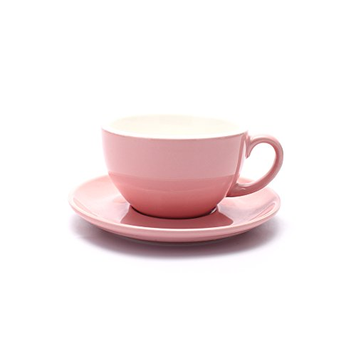(Coffeezone Barista Speciality Coffee Cup and Saucer, Small Cappuccino or Double Espresso Ceramic Cups (Glossy Pink, 5 oz))