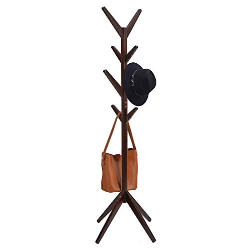 Free Standing Solid Wood Coat Rack Simple Entryway Standing Hall Tree, with 4 Tiers 8 Hooks and Solid Feet for Clothes Scarves and Hats (Dark Coffee) (Wood Coat Rack Standing)