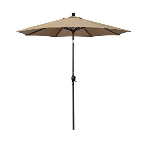 California Umbrella 7.5' Round Aluminum Market Umbrella, Crank Lift, Push Button Tilt, Bronze Pole, Olefin Terrace Sequoia