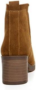 YYH Pelle Vintage Donna Stivaletti Tacco Alto Scarpe, Camel, 37