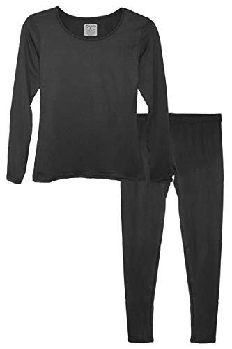 9M Women's Ultra-Soft Fleece Lined Thermal Base Layer Top & Bottom Underwear Set, Black, Large