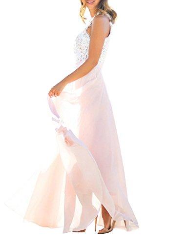 da floreale da donna Vestito pizzo Maxi lungo in abito donna OMZIN Rosa chiffon vestito in da w8xzIO