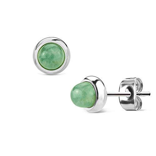 MoBody Semi-Precious Stone Round Stud Earrings Silver-Tone Surgical Stainless Steel Womens Jewelry (Jade Green) from MoBody