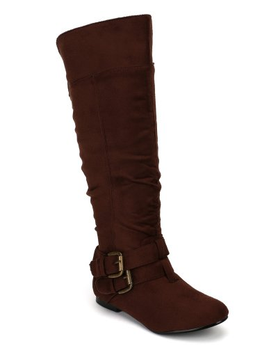 Suede Slouchy Knee Flat Brown Buckle Nature 20 Boot Breeze High Vickie pwAHBxg