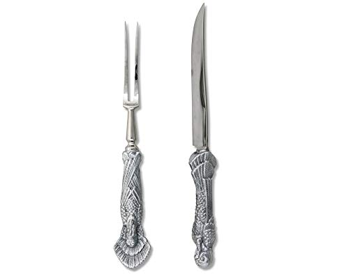 Arthur Court Thanksgiving Turkey Handed Carving Set - Forged Stainless Steel Carving Fork and Carving Knife