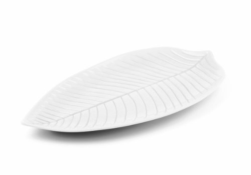 - Aps Paderno World Cuisine White Melamine Leaf Dish, 14-1/8-Inch by 6-1/4-Inch