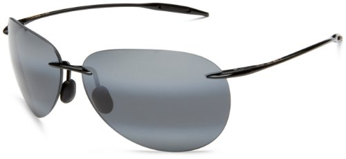 Maui Jim 421-02 Gloss Black Sugar Beach Aviator Sunglasses Polarised Golf, Runn