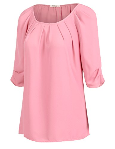 Meaneor Womens Chiffon Rolled Pleated