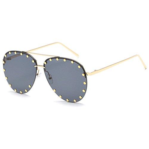 cadre mode Mâle rétro lunettes femelle soleil lunettes Aiweijia Rivet de de soleil et Gris demi HXIxwX4q