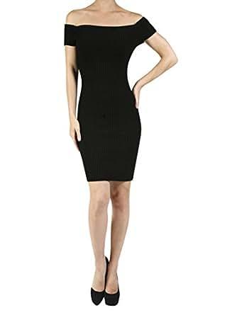 makeitactive Women's Off Shoulder Slim Fitted Rib Knit Midi Dress Small YOD0047_47Black