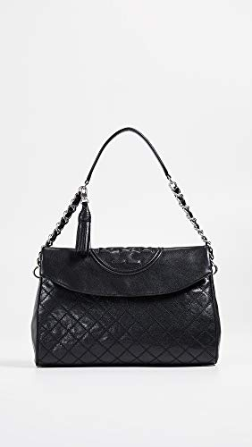 Hobo Fold Fleming Black Distressed Leather Women's Over Tory Burch nvwxq1n7