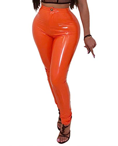 Doris Apparel Womens Latex Rubber Pants Jeggings Orange (Latex Rubber Pants)