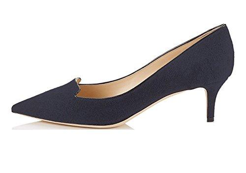 Damen Heel Übergröße Pumps Navy Kitten Klassische Spitz EDEFS Zehe Schuhe aRqCaw