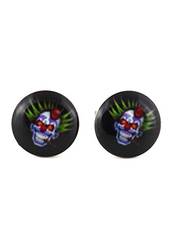 Sideshow Freaks Halloween Costumes (Evil Insane Clown Stud Earrings Silver Tone EM12 Gothic Art Fashion)