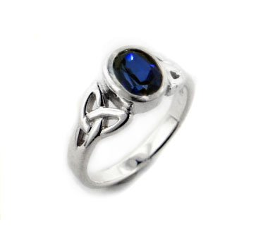 Amazon Sterling Silver Celtic Knot and Created Blue Sapphire