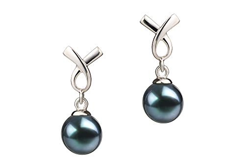 Riley Black 6-7mm AA Quality Japanese Akoya 925 Sterling Silver Cultured Pearl Earring Pair For Women