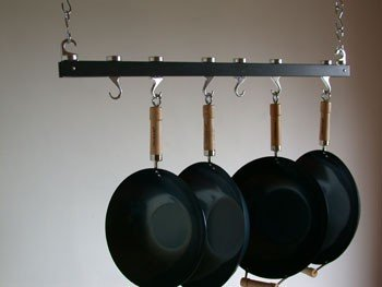 Track Ceiling Pot Rack in Anthracite Grey Finish