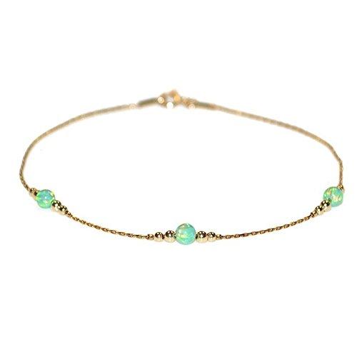 Dainty Kiwi Opals Beads Bracelet Gold/Opal Bracelet, Circle Bracelet, Opal Jewelry