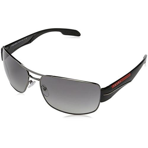 77fe9a0813 Prada Sport - Gafas de sol Rectangulares para hombre, color gris, talla 65  mm