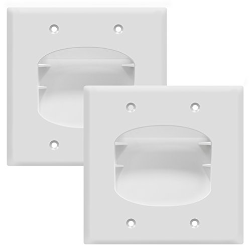TOPGREENER Recessed Scoop Low Voltage Cable Wall Plate for Home Theaters, Durable Polycarbonate Thermoplastic, Standard Size 2-Gang, White (2 Pack) TG8882-2PCS