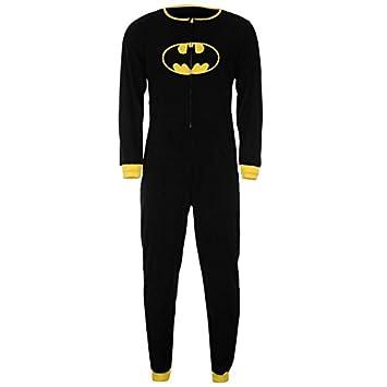 Oficial de Batman superhéroe pijama enterizo todo en uno para hombre diseño de cuadrados pijamas sifón