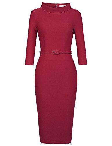 MUXXN Women's 1950s Vintage 3/4 Sleeve Elegant Collar Cocktail Evening Dress