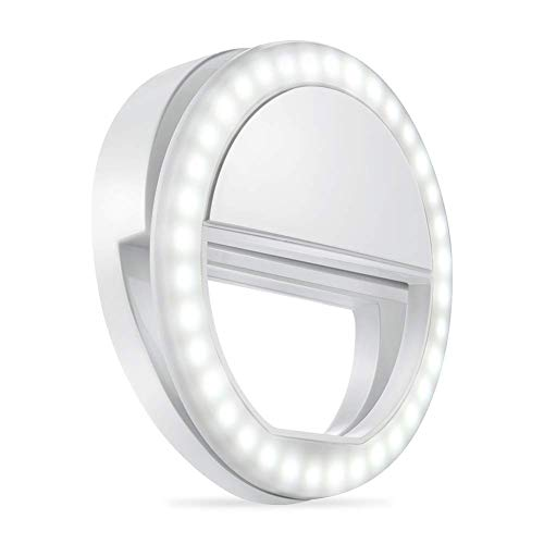 Selfie Light Ring,URUTOREO Selfie Ring Light with 36 LED Bulbs, Flash Lamp Clip Ring Lights Fill-in Lighting Portable for Phone/Tablet/iPad/Laptop Camera – White