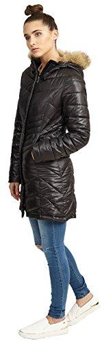 36 Nueva Largo Capucha Negro Cuello 44 Invierno Piel Chocolate Acolchado Abrigo Mujer Pickle De Con Para Chaqueta np5Xq6S