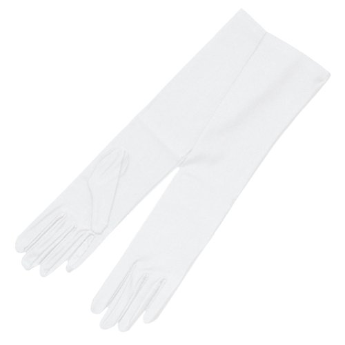 ZaZa Bridal 4-Way Stretch Matte Finish Satin Youth Size(13-16yrs) Gloves - 8BL-White by ZaZa Bridal