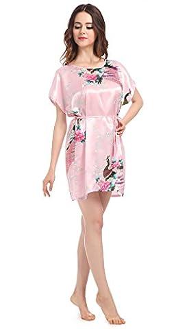 Women's Gorgeous Bridesmaid Kimono Robe Silk Sleepwear Peacock Bride Robes