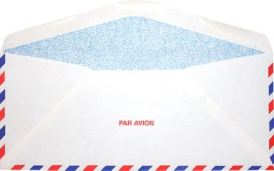 #10 Regular Envelopes (4 1/8 x 9 1/2) - Airmail w/Security Tint (50 Qty.) | Business | Perfect for Checks, Invoices, Letterhead, Letters, Statements, Direct Mail | Printable | 24lb Text Paper