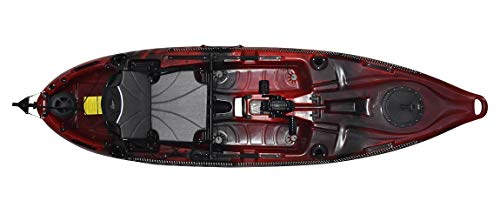 Riot Mako 10 Sit-on-Top Kayak with Impulse Pedal Drive, 10', Fire Storm red/Black