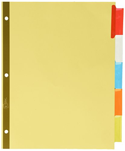 Avery Big Tab Insertable Dividers , Buff Paper, 5 Multicolor Tabs, Case Pack of 48 Sets (11109) Avery Big Tab Insertable Dividers