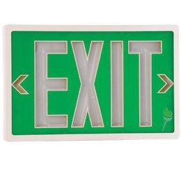 Tritium Exit Sign (Tritium Self-luminous Exit Sign - Double Face - Green Face - White Housing - 10 Years)
