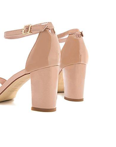 Sandalias Rosado DHG 37 Moda Las de de Señoras Tacones Altos H56W8202 Hebilla Verano Pequeñas de 6EarWOEY