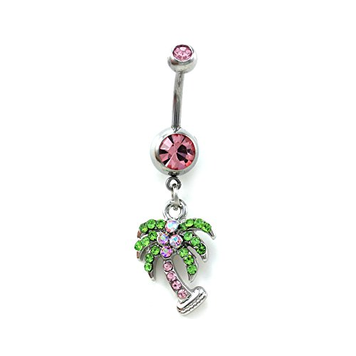 Pink Green Desert Summer Beach Palm Tree Belly Button Navel Ring Body Surgical Steel 316L