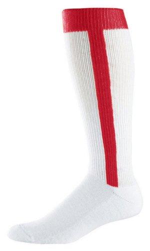 Augusta Baseball 2 in 1 Stirrup Socks Red Intermediate by Augusta Sportswear