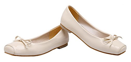 Pull Solid Beige Shoes Women's WeiPoot Pumps Patent Low On Heels Leather xtBIngBwqC