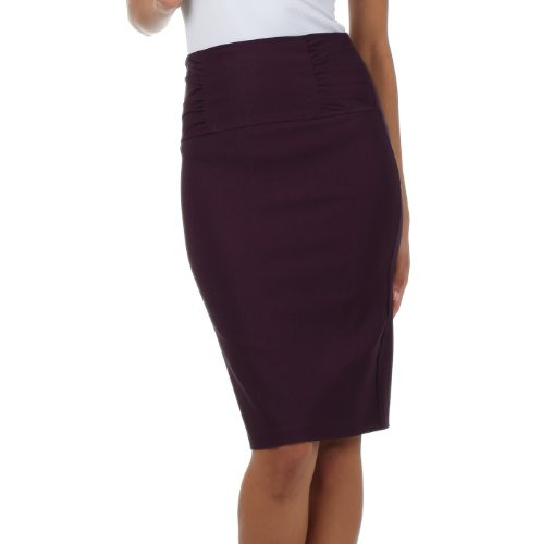 (IMI-5235 Petite High Waist Stretch Pencil Skirt With Shirred Waist Detail - Plum /)
