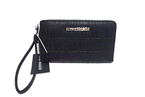 Steve Madden Womens Logo Zip Around Wallet (Black/Silver) ()