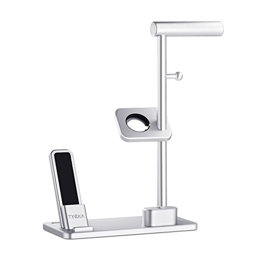 TYCKA Aluminum 4 in 1 Apple Charge Station, Apple Watch + iPhone stand + AirPods Charging Stand + Headphone Holder for Apple Watch Series 3/2/1, iPhoneX 8Plus 8 7Plus 7 6s 6Plus 6, iPad with Silver by TYCKA (Image #5)