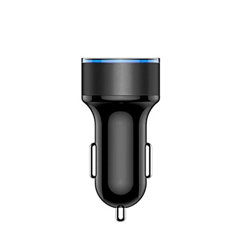 Dual USB Car Charger with LED Display Universal Mobile Phone Car Charger for iPhone Samsung Xiaomi Huawei. Black