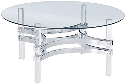 Coaster 720708-CO Round Glass Top Coffee Table, Chrome