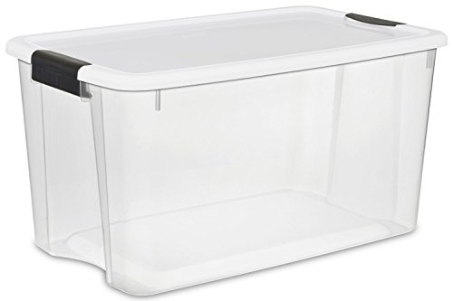 Sterilite 19889804 70 Quart/ 66 Liter Ultra Latch Box, White Lid & Clear Base w/ Latches, 8-Boxes (70 Quart Ultra??? Storage Box)